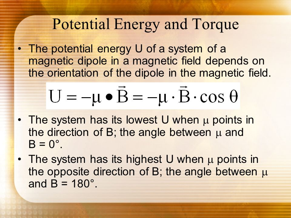 Potential Energy and Torque