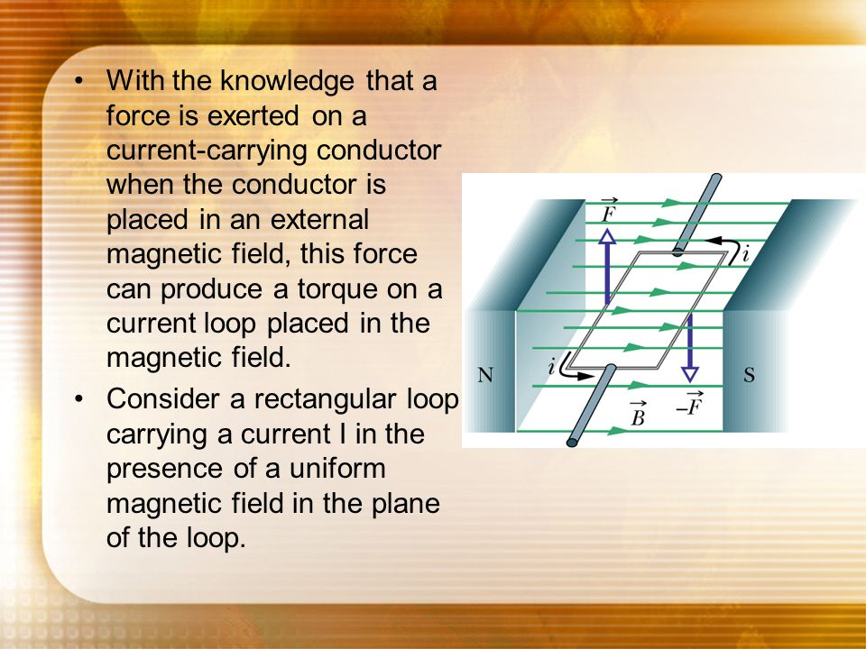 With the knowledge that a force is exerted on a current-carrying conductor when the conductor is placed in an external magnetic field, this force can produce a torque on a current loop placed in the magnetic field.
