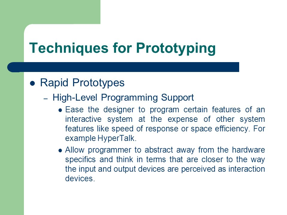 Techniques for Prototyping