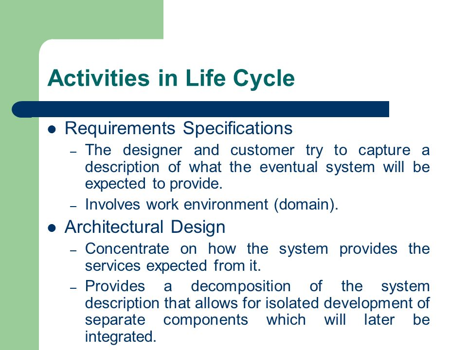 Activities in Life Cycle
