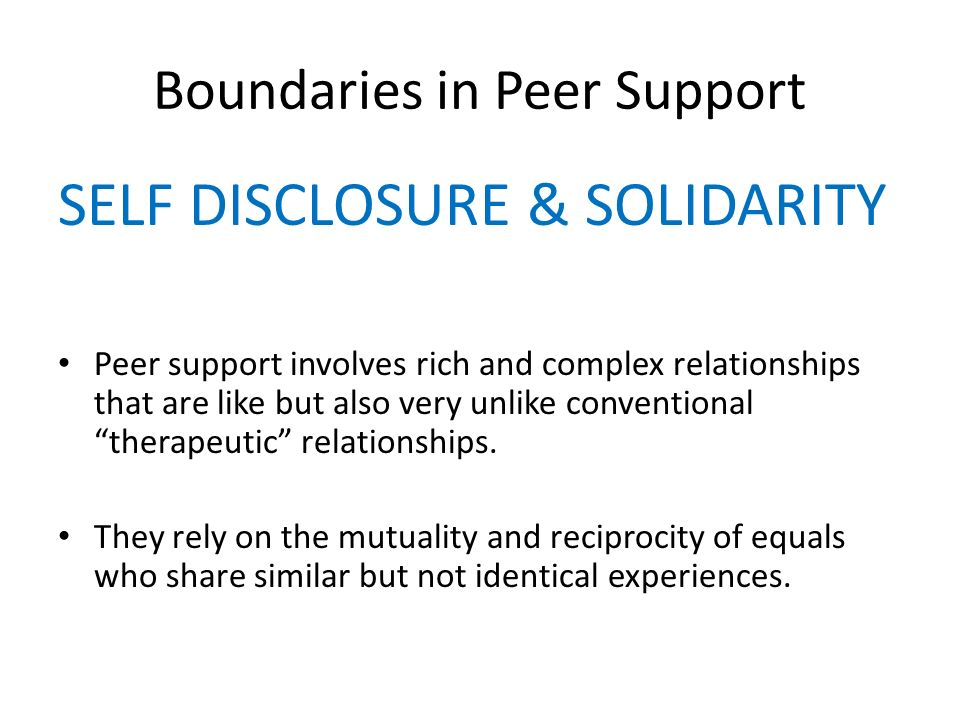 Boundaries in Peer Support