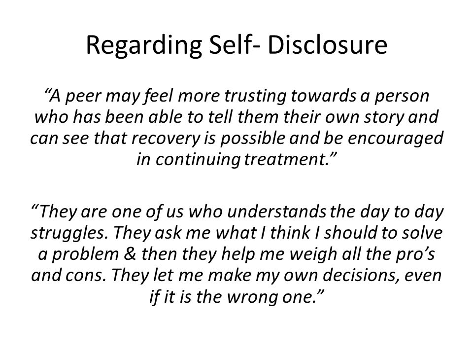 Regarding Self- Disclosure
