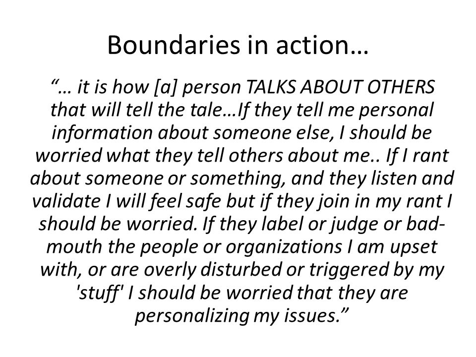 Boundaries in action…