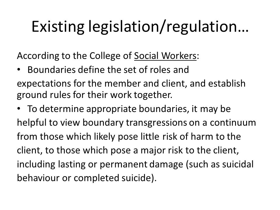 Existing legislation/regulation…