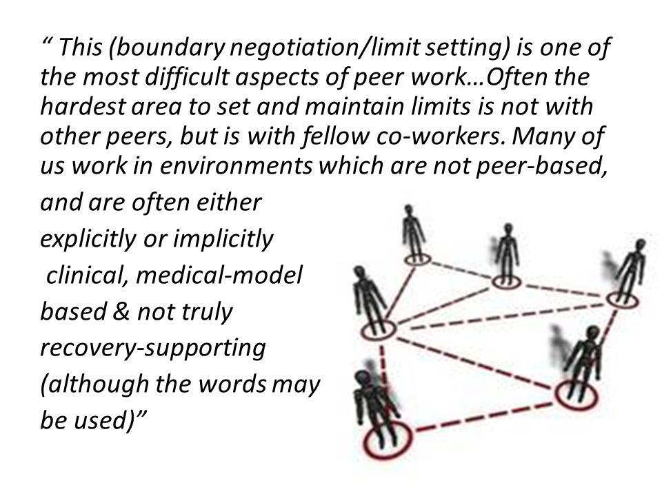 This (boundary negotiation/limit setting) is one of the most difficult aspects of peer work…Often the hardest area to set and maintain limits is not with other peers, but is with fellow co-workers.