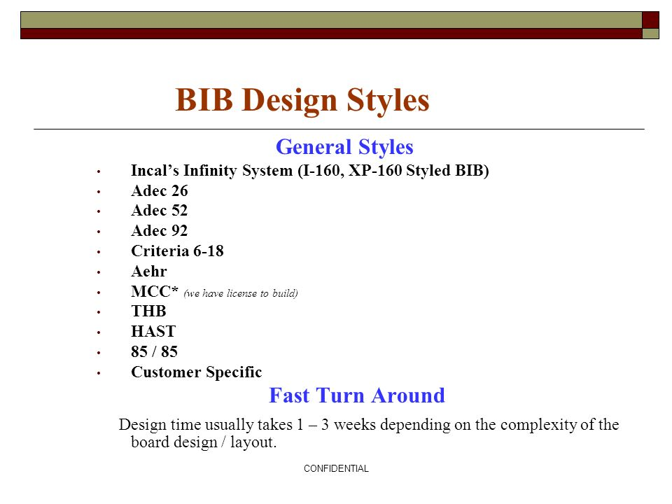 BIB Design Styles General Styles