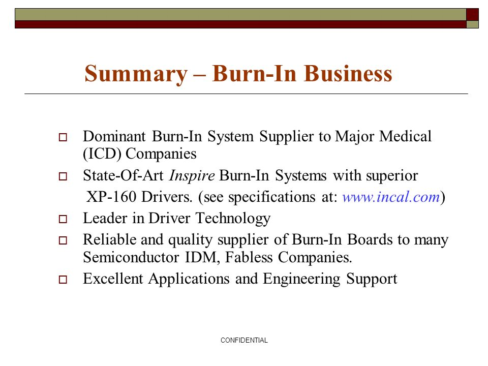 Summary – Burn-In Business