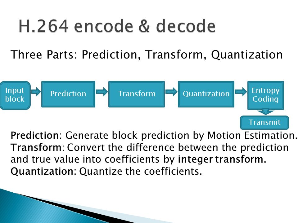 H.264 encode & decode Three Parts: Prediction, Transform, Quantization