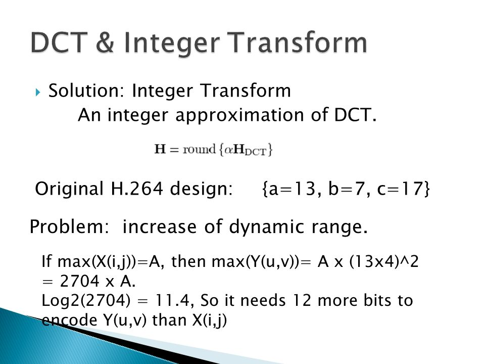 DCT & Integer Transform
