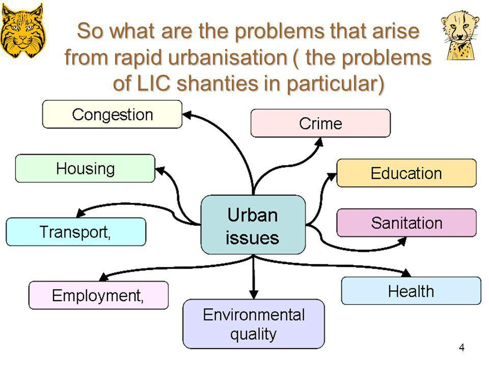 So what are the problems that arise from rapid urbanisation ( the problems of LIC shanties in particular)