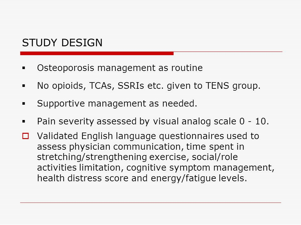 STUDY DESIGN Osteoporosis management as routine