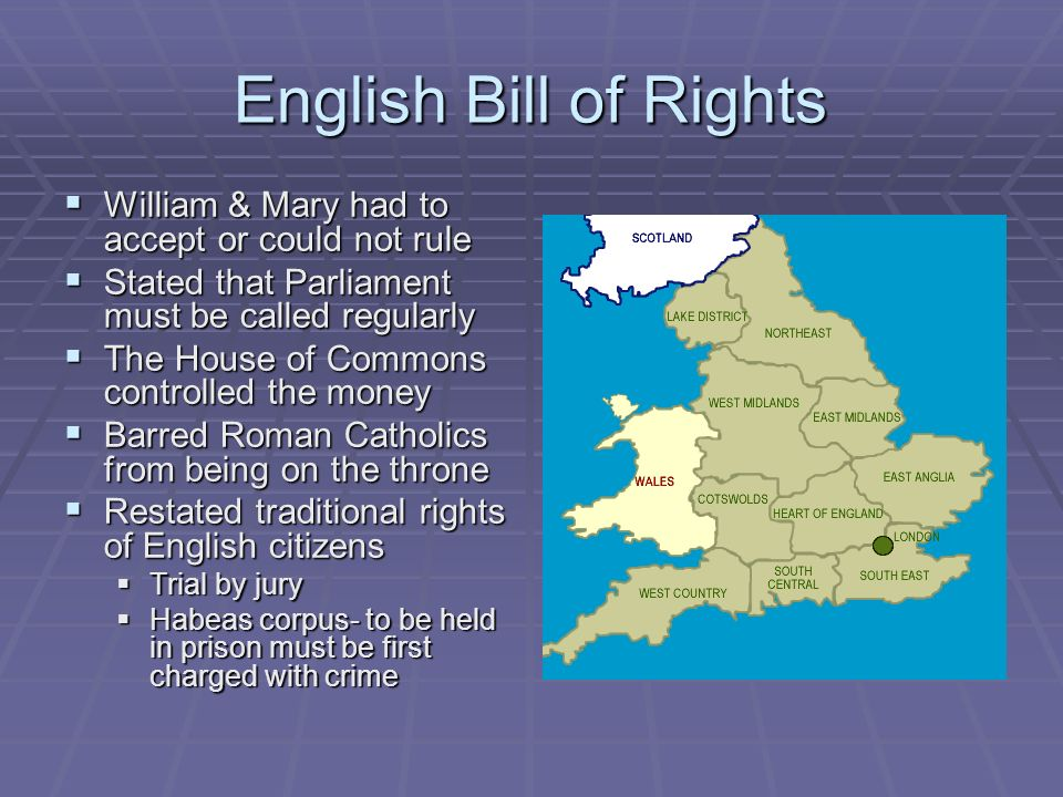 English Bill of Rights William & Mary had to accept or could not rule