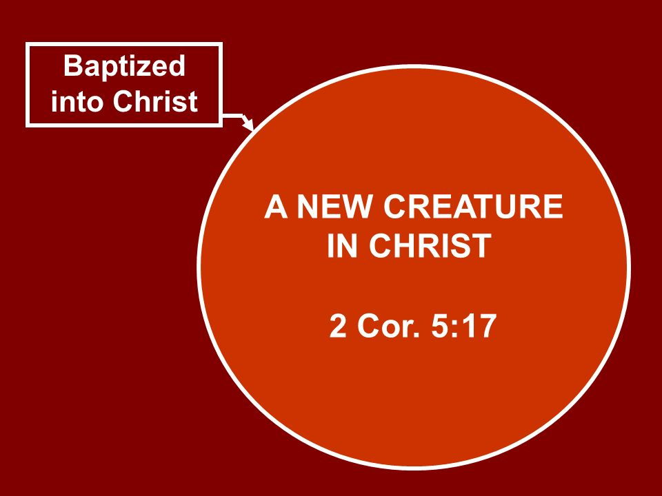 A NEW CREATURE IN CHRIST 2 Cor. 5:17