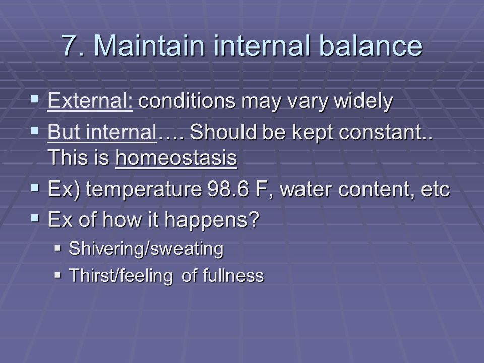 7. Maintain internal balance