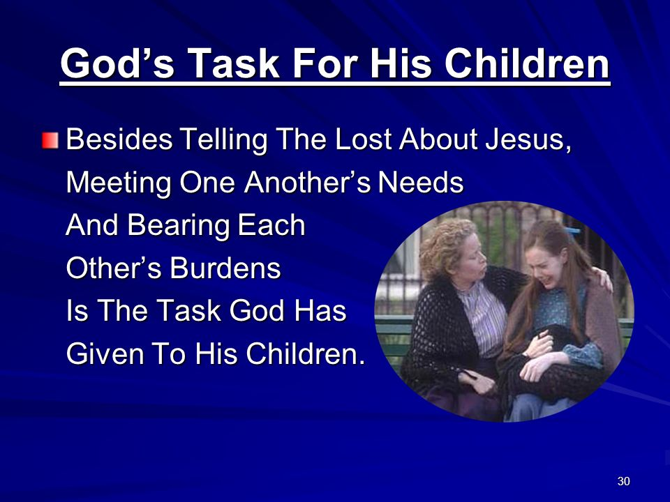 God's Task For His Children