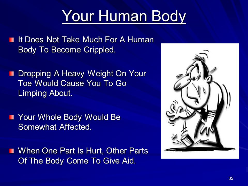 Your Human Body It Does Not Take Much For A Human Body To Become Crippled. Dropping A Heavy Weight On Your Toe Would Cause You To Go Limping About.