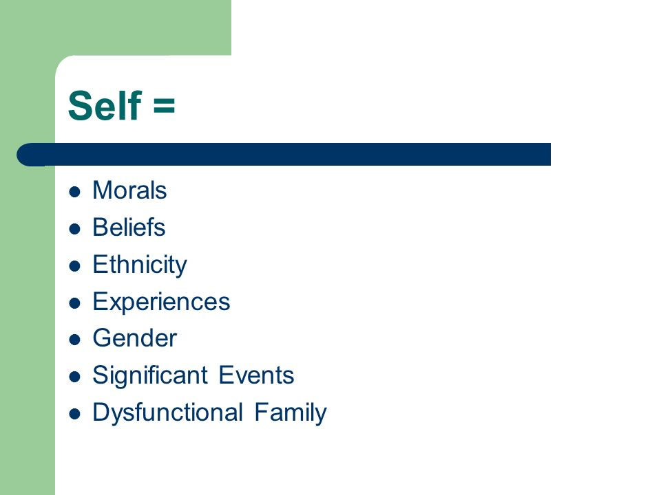Self = Morals Beliefs Ethnicity Experiences Gender Significant Events