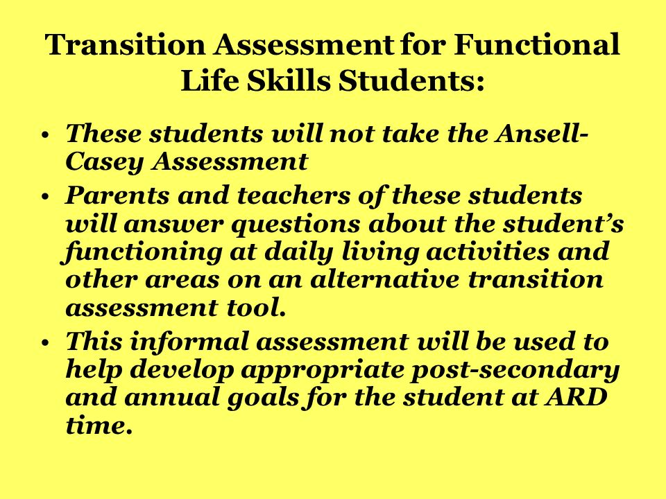 Transition Assessment for Functional Life Skills Students: