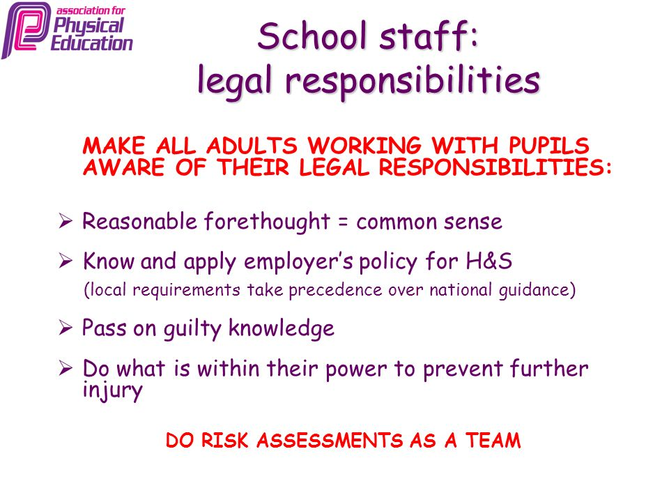 School staff: legal responsibilities