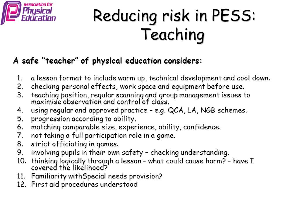 Reducing risk in PESS: Teaching