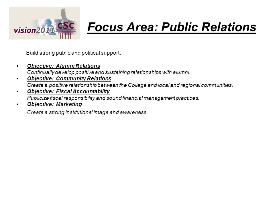 Focus Area: Public Relations