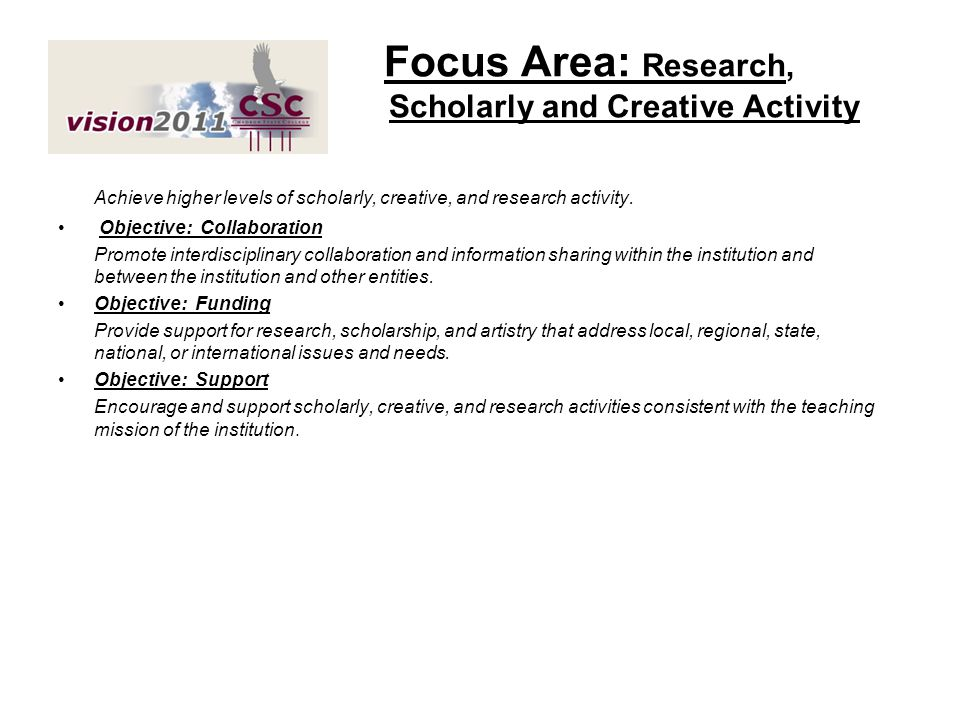 Focus Area: Research, Scholarly and Creative Activity