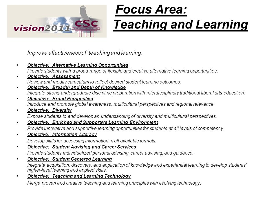 Focus Area: Teaching and Learning