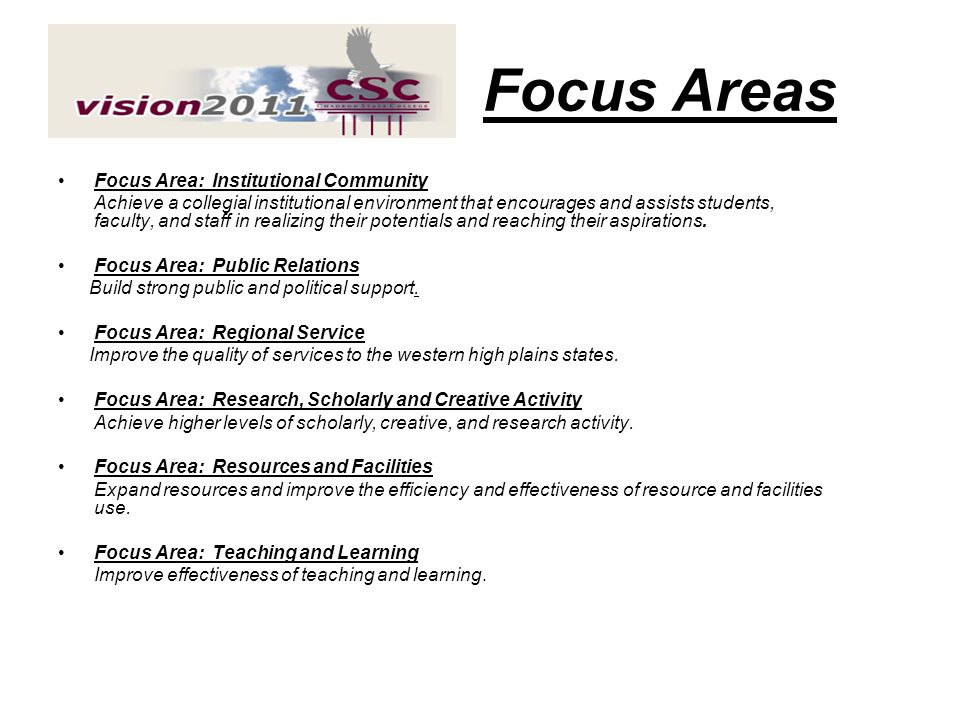 Focus Areas Focus Area: Institutional Community