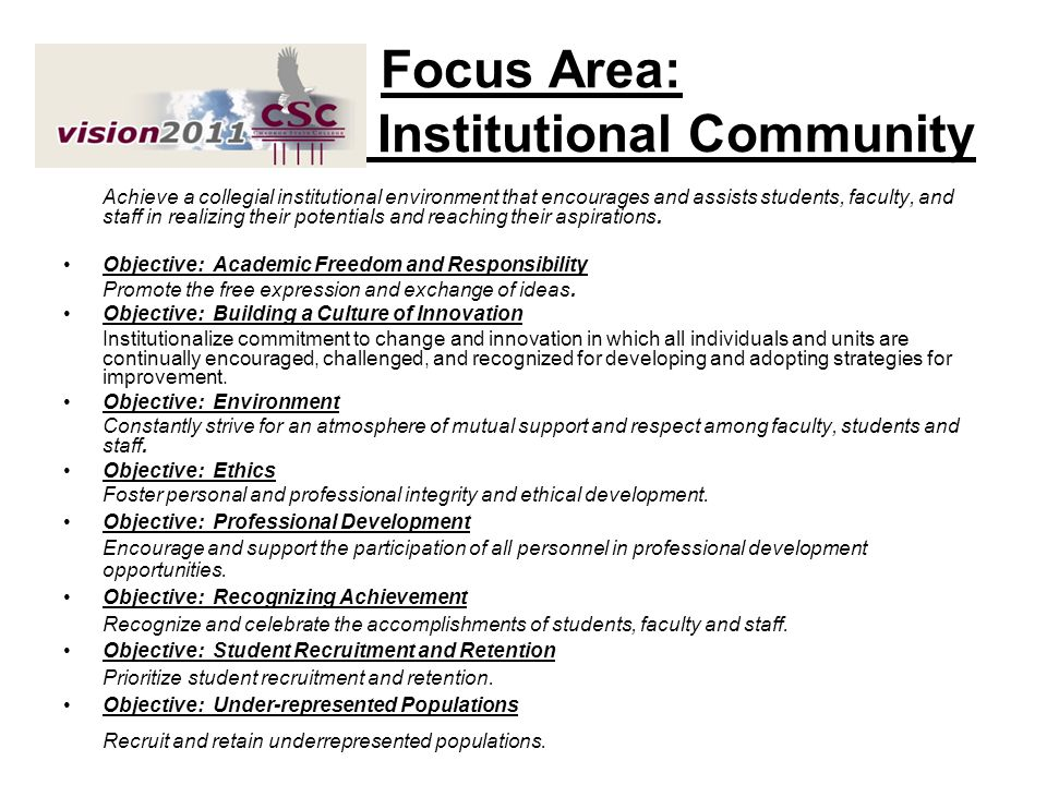 Focus Area: Institutional Community