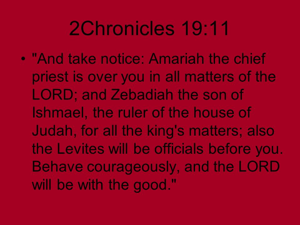 2Chronicles 19:11