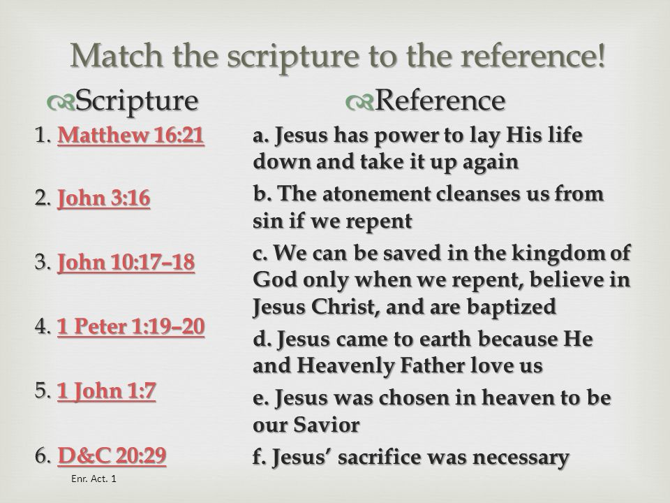 Match the scripture to the reference!