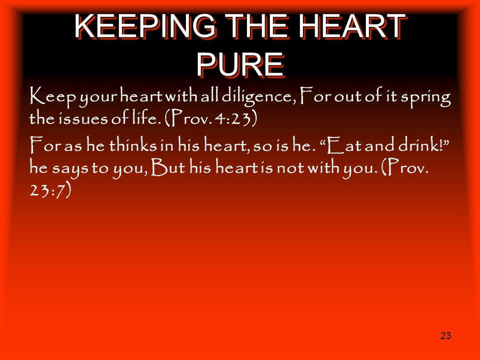 KEEPING THE HEART PURE Keep your heart with all diligence, For out of it spring the issues of life. (Prov. 4:23)
