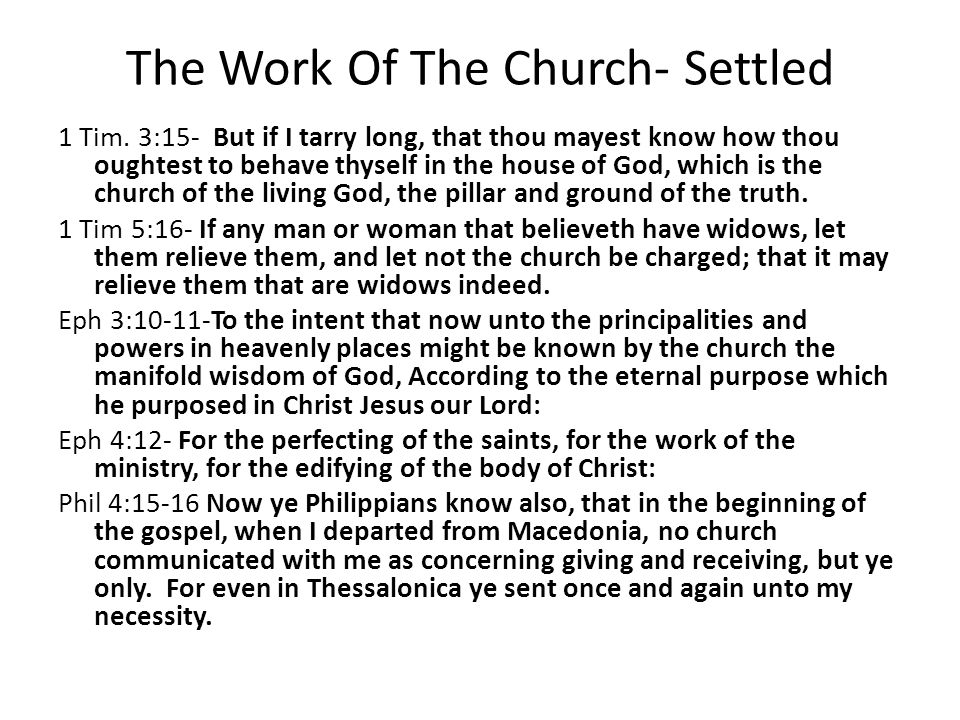 The Work Of The Church- Settled