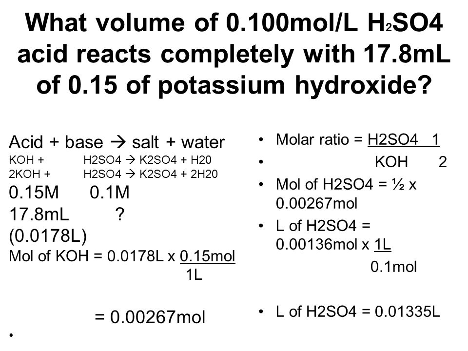 What volume of mol/L H2SO4 acid reacts completely with 17