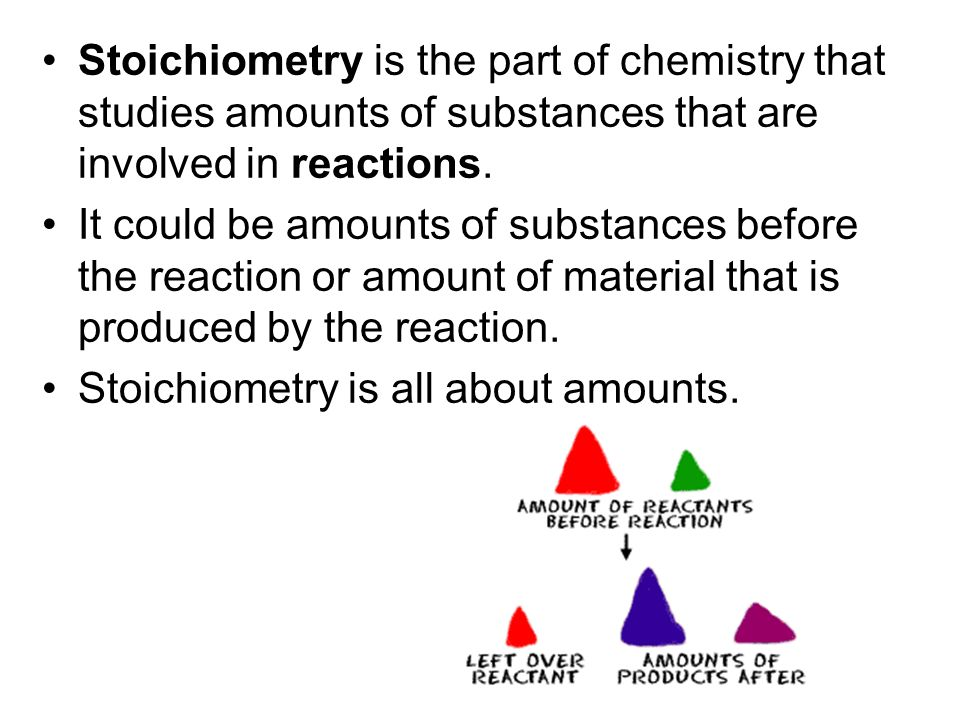 Stoichiometry is the part of chemistry that studies amounts of substances that are involved in reactions.