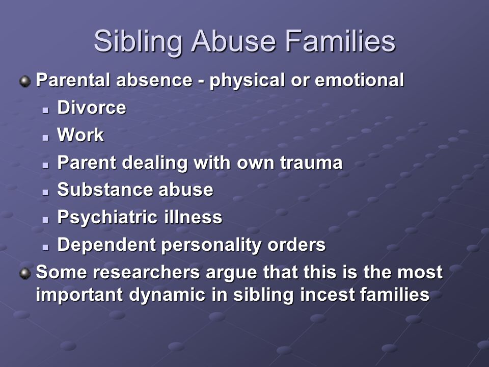 Sibling Abuse Families