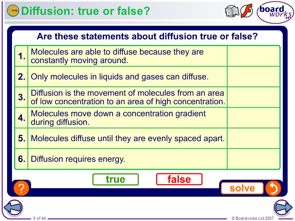 Diffusion: true or false