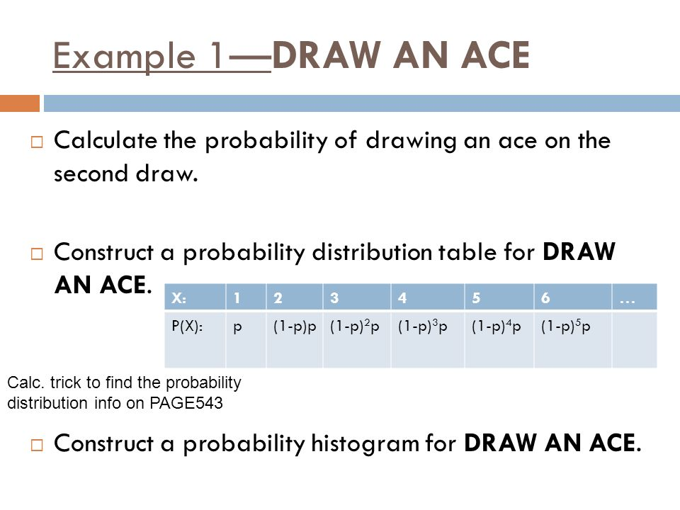Example 1—DRAW AN ACE Calculate the probability of drawing an ace on the second draw. Construct a probability distribution table for DRAW AN ACE.
