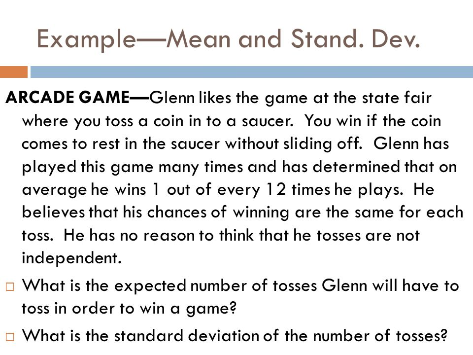 Example—Mean and Stand. Dev.