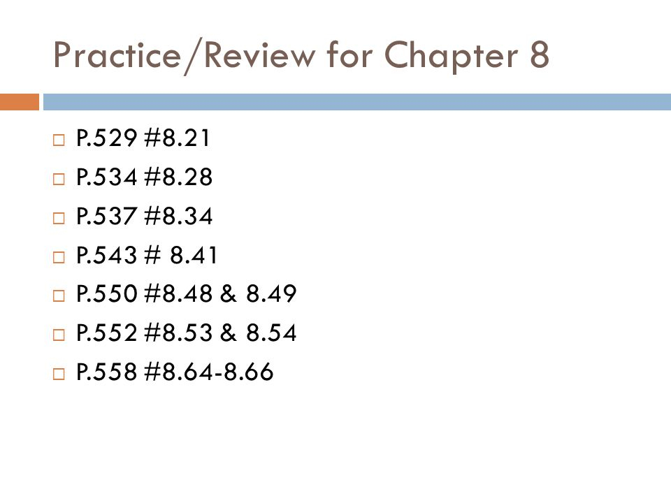 Practice/Review for Chapter 8
