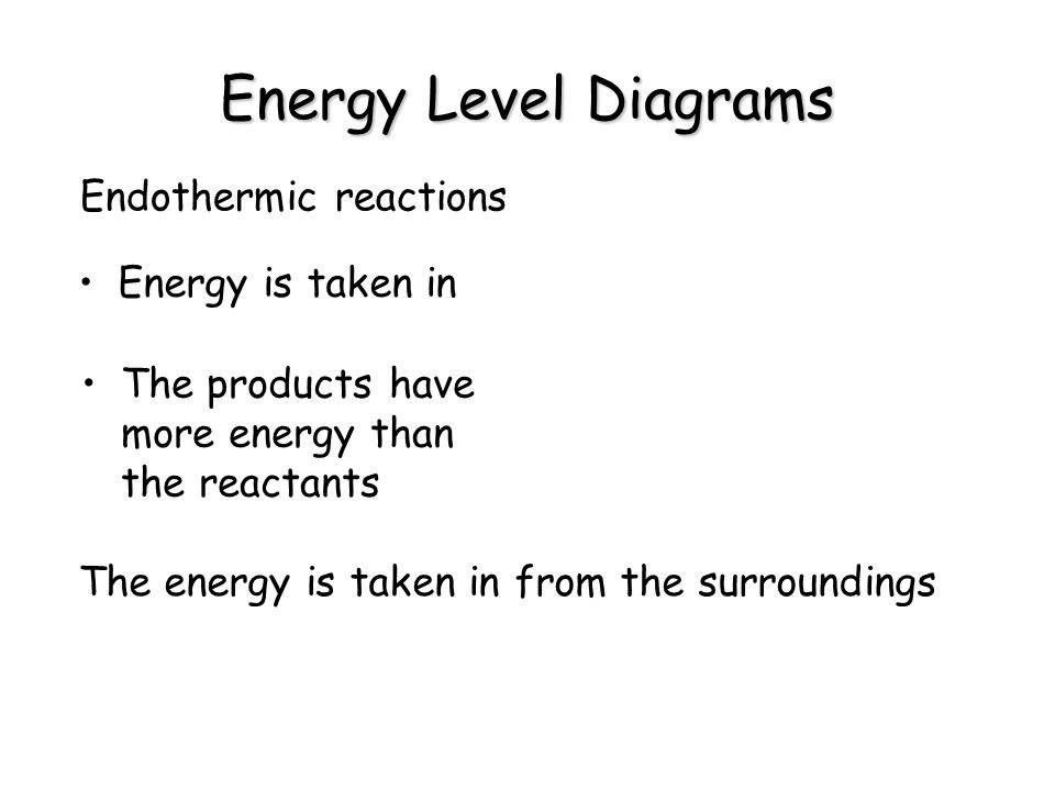 Energy Level Diagrams Endothermic reactions Energy is taken in