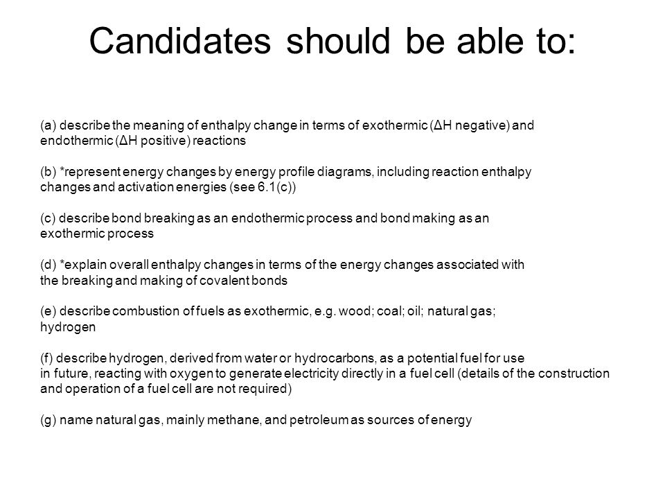 Candidates should be able to: