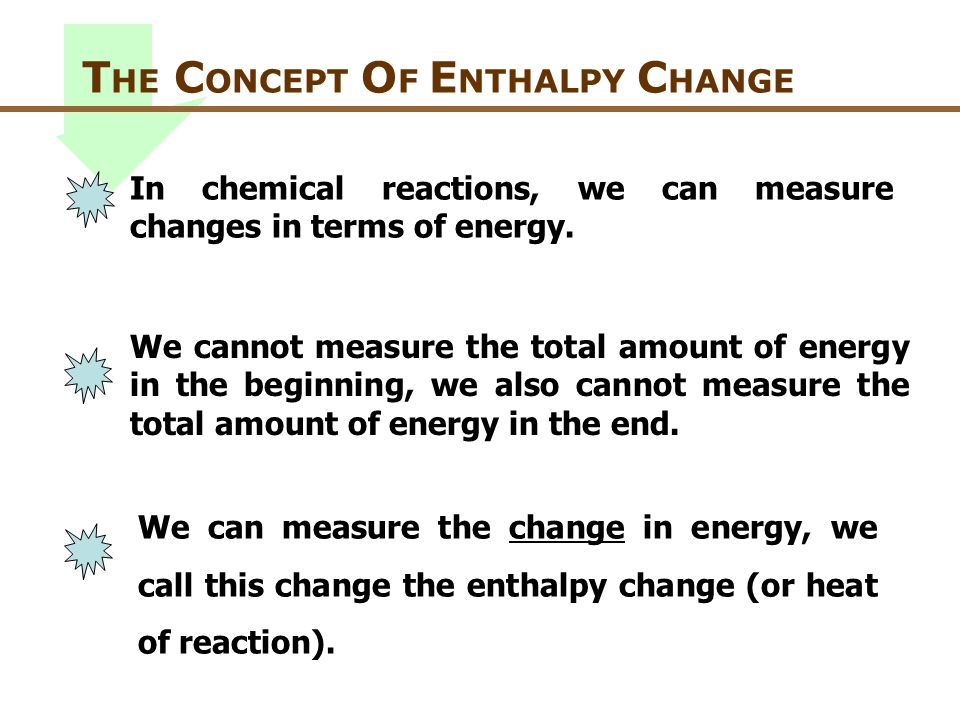 THE CONCEPT OF ENTHALPY CHANGE