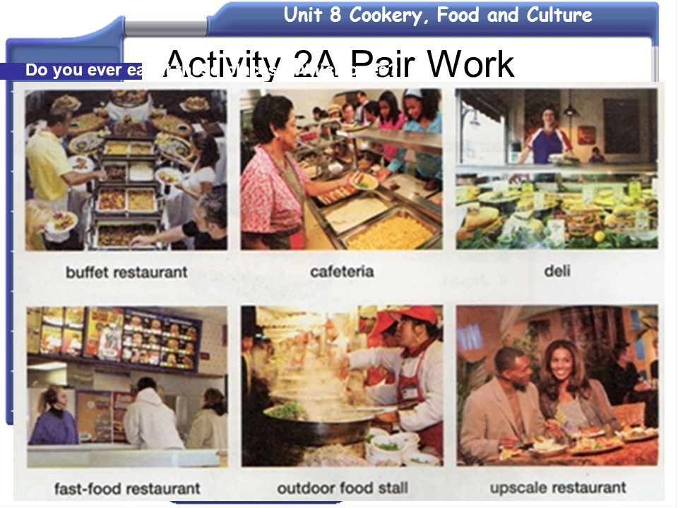 Activity 2A Pair Work Do you ever eat at these places Which ones