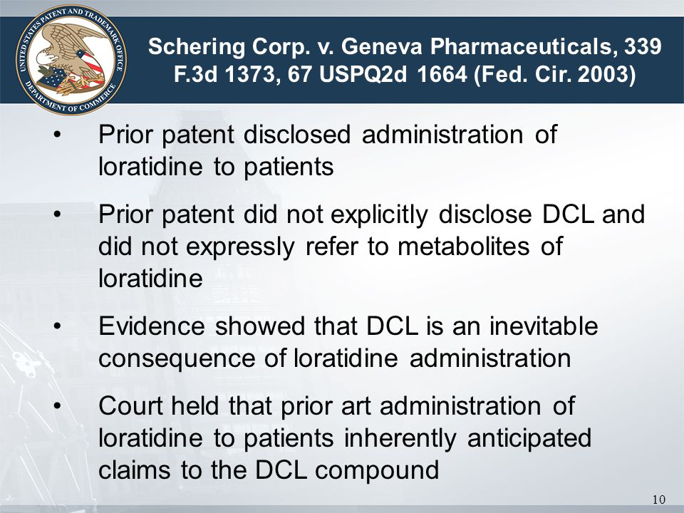 Prior patent disclosed administration of loratidine to patients