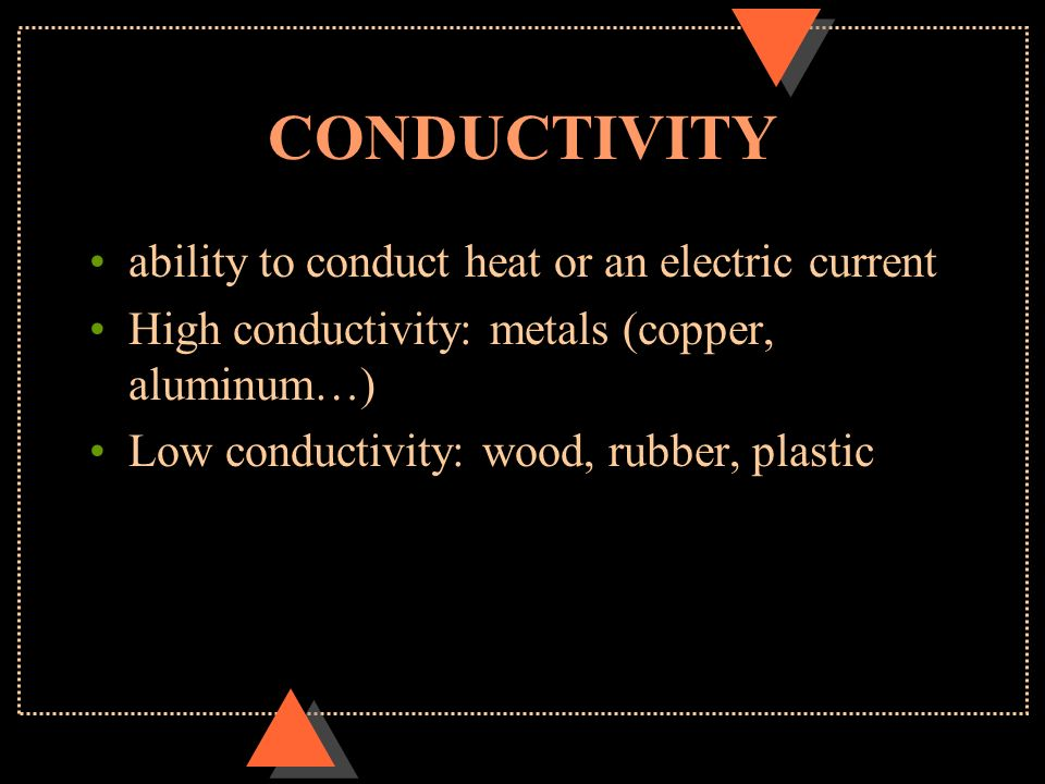 CONDUCTIVITY ability to conduct heat or an electric current