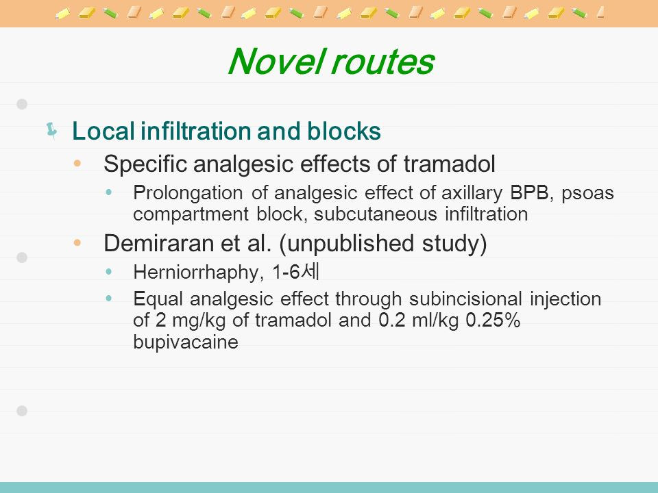 Novel routes Local infiltration and blocks