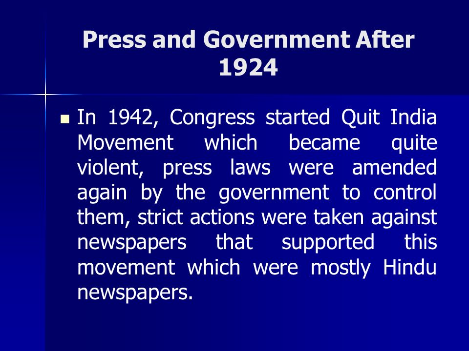 Press and Government After 1924