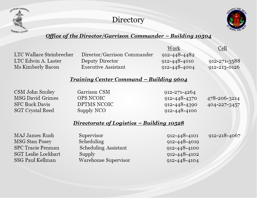 Directory Office of the Director/Garrison Commander – Building 10504