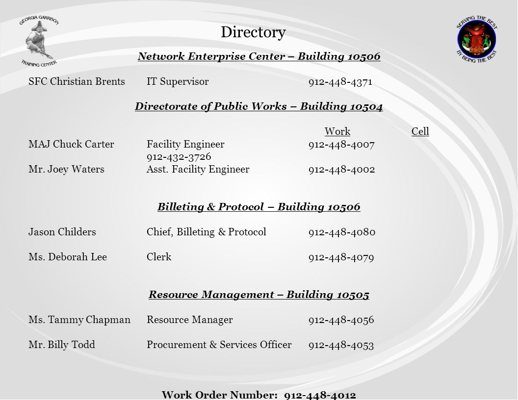 Directory Network Enterprise Center – Building 10506